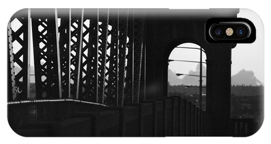 Black And White IPhone X Case featuring the photograph Side Of The Bridge by Lyle Crump