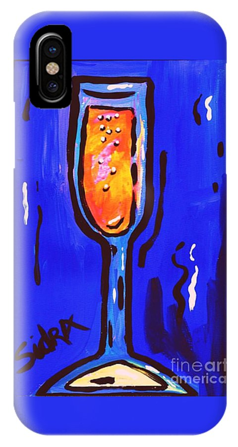 Champagne IPhone X / XS Case featuring the painting Sidzart Pop Art Series 2002 Champagne Celebration by Sidra Myers