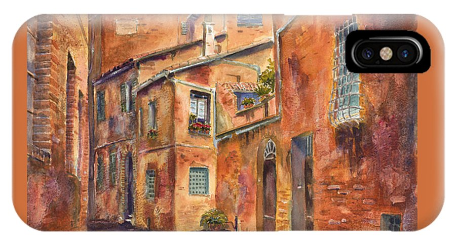 Italian Village IPhone X Case featuring the painting Siena Alley by Betsy Aguirre
