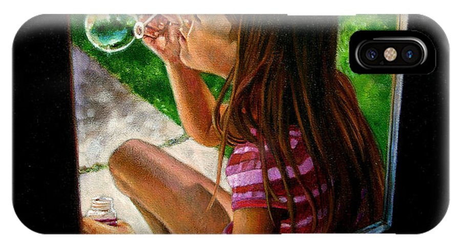 Girl IPhone X Case featuring the painting Sierra Blowing Bubbles by John Lautermilch