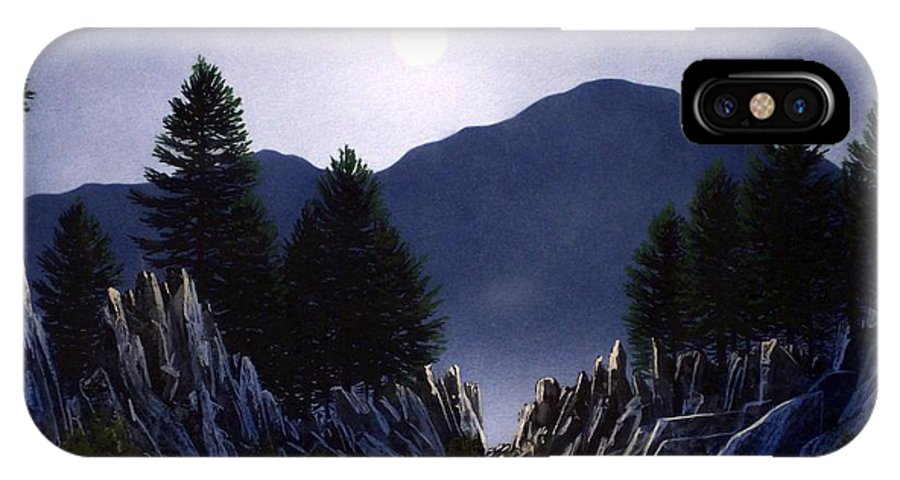 Mountains IPhone X Case featuring the painting Sierra Moonrise by Frank Wilson