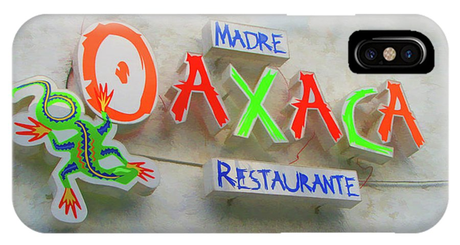 Monterrey IPhone X Case featuring the photograph Sign Of Madre Oaxacan Restaurant by Art Spectrum