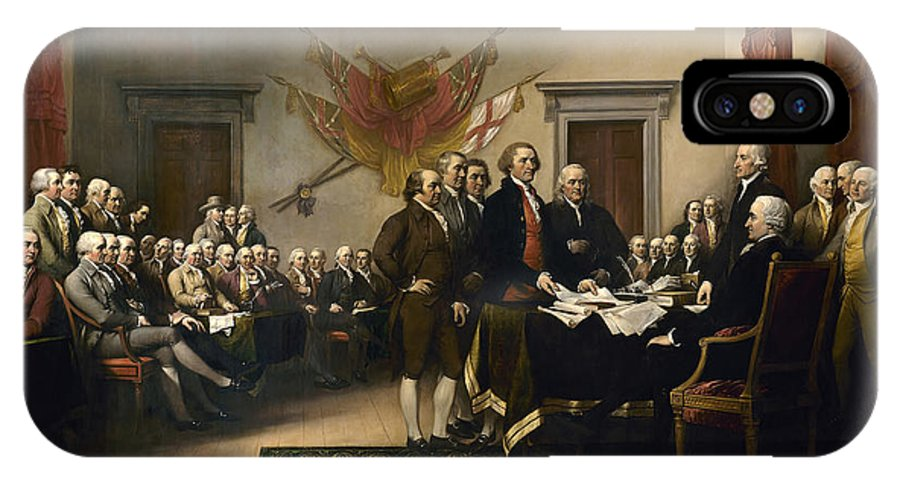 Declaration Of Independence IPhone X Case featuring the painting Signing The Declaration Of Independence by War Is Hell Store