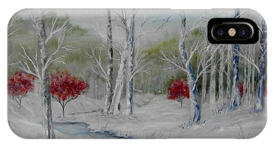 Snow; Winter; Birch Trees IPhone X Case featuring the painting Silence by Ben Kiger