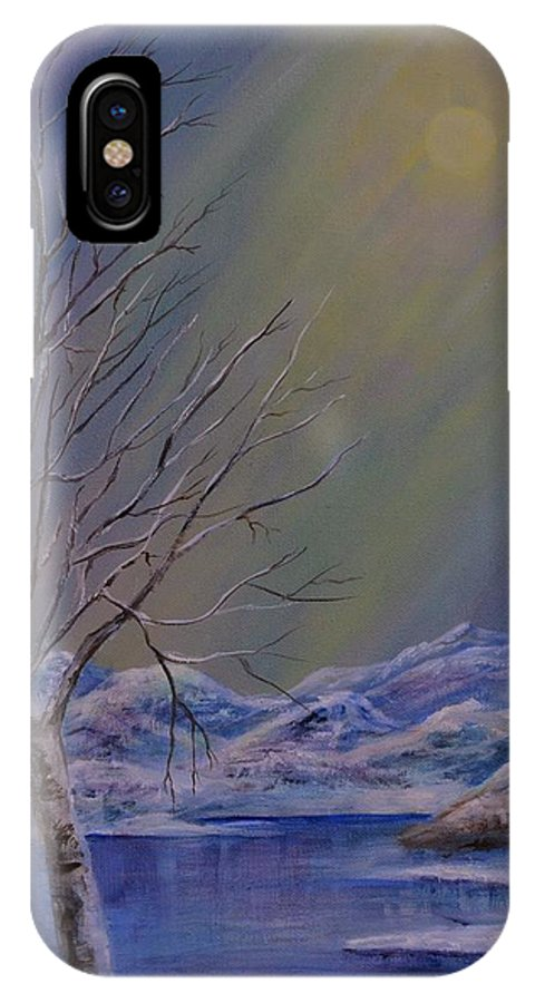 Winter IPhone X Case featuring the painting Silence Flows by Vicki Caucutt