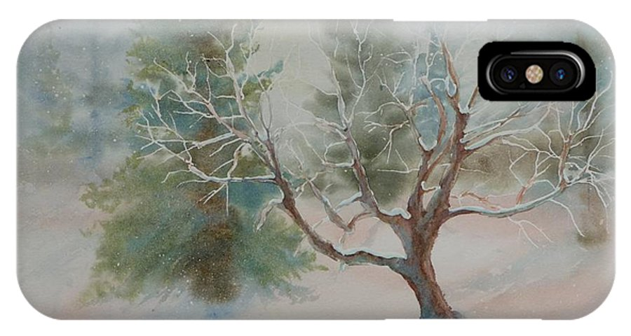 Snow IPhone X Case featuring the painting Silence by Ruth Kamenev