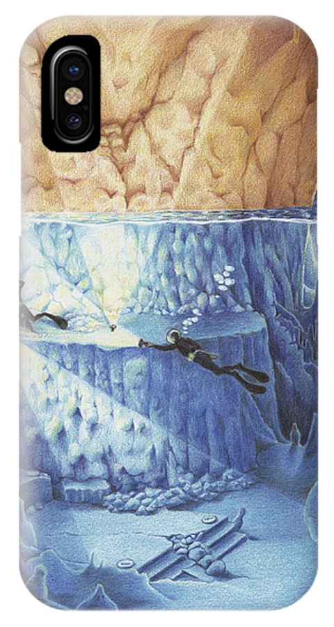 Diver IPhone X Case featuring the drawing Silent Echoes by Amy S Turner