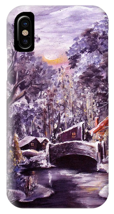 Landscape IPhone X Case featuring the painting Silent Night by Ruth Palmer