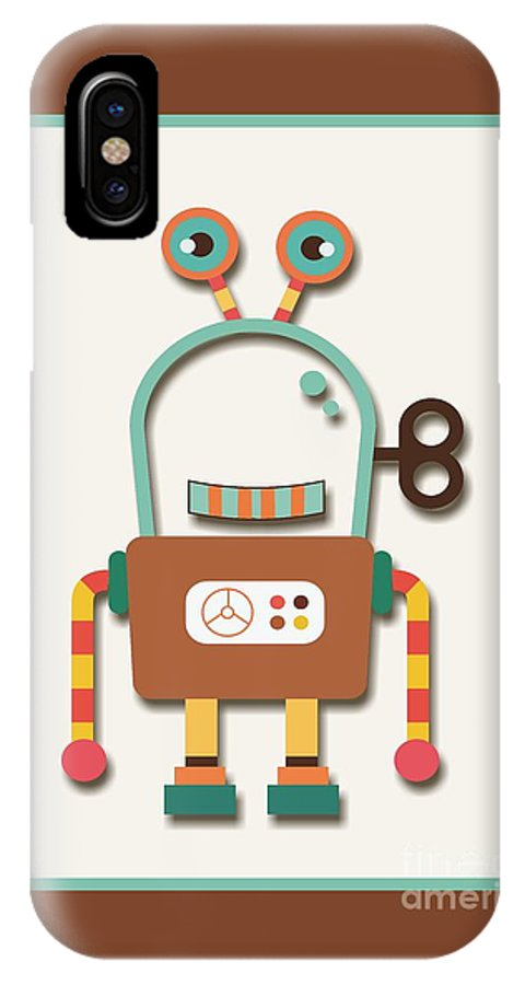 Retro IPhone X Case featuring the digital art Silly Wind-up Toy by Alondra Hanley