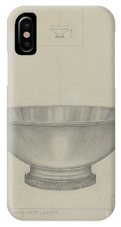 IPhone X Case featuring the drawing Silver Bowl by Hans Westendorff