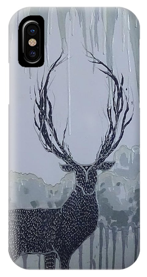 Silver IPhone X Case featuring the painting Silver Deer by Polina Kamenska