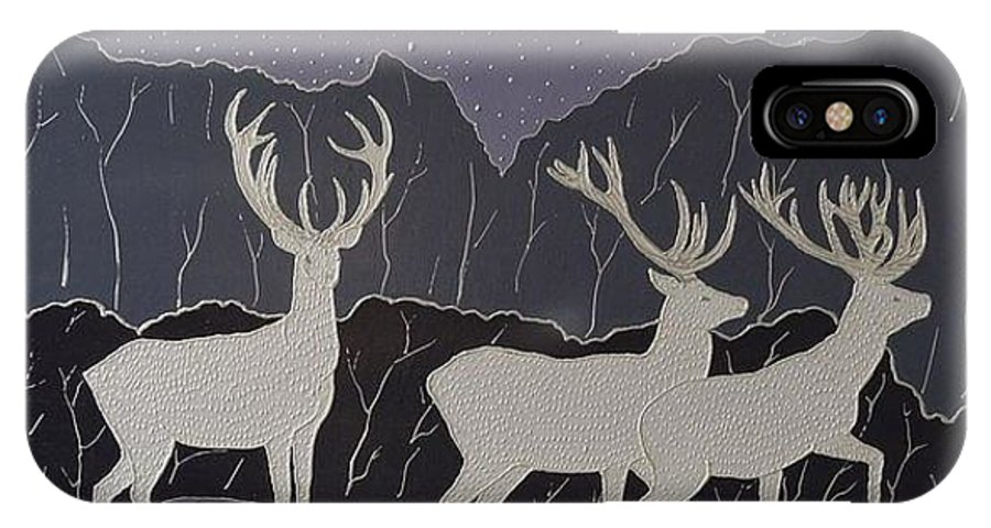 Silver IPhone X Case featuring the painting Silver Deers by Polina Kamenska