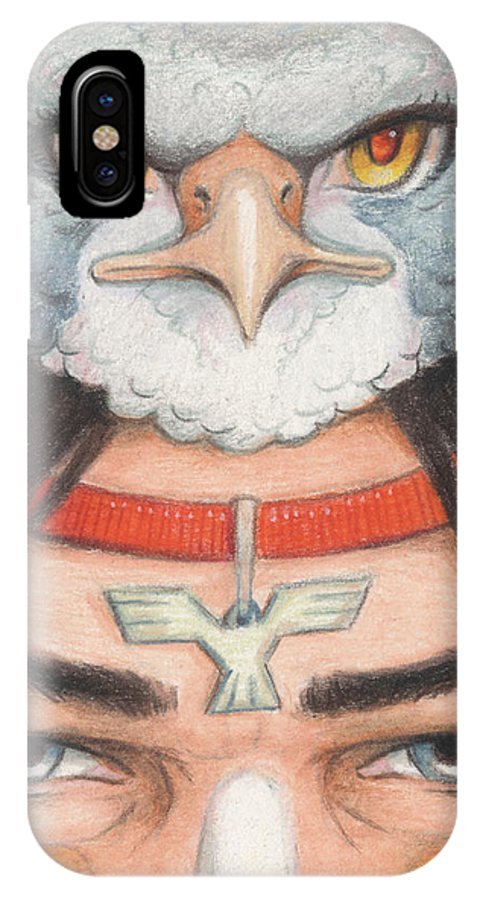 Atc IPhone X Case featuring the drawing Silver Hawk Warrior by Amy S Turner