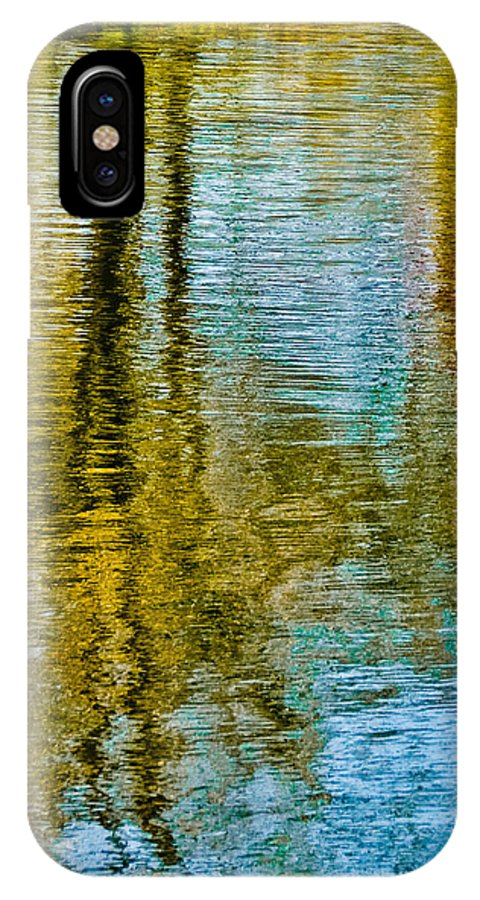 Silver IPhone X Case featuring the photograph Silver Lake Autum Tree Reflections by Michael Bessler