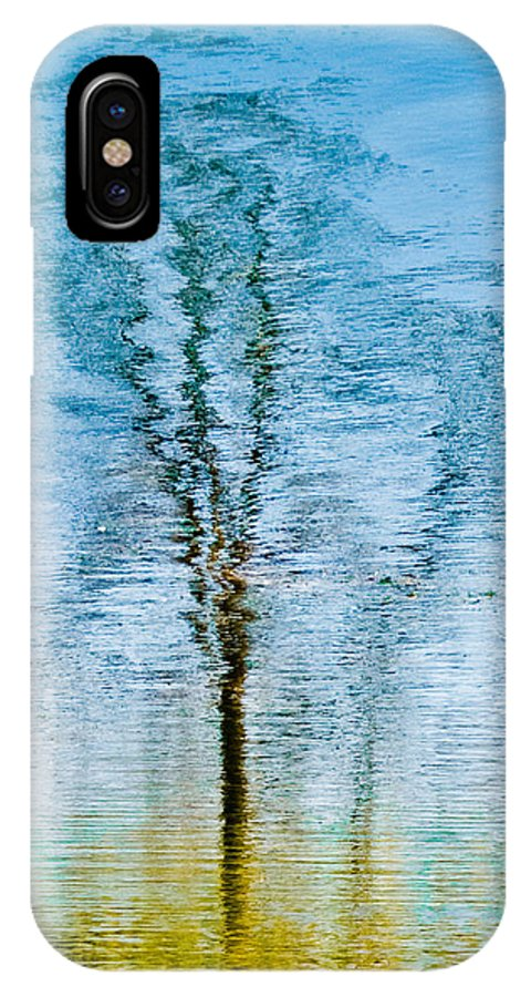 Silver IPhone X Case featuring the photograph Silver Lake Tree Reflection by Michael Bessler