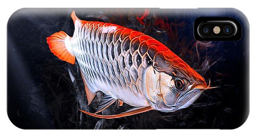 Arowanas IPhone X Case featuring the digital art Silver Orange Arowana by Scott Wallace Digital Designs