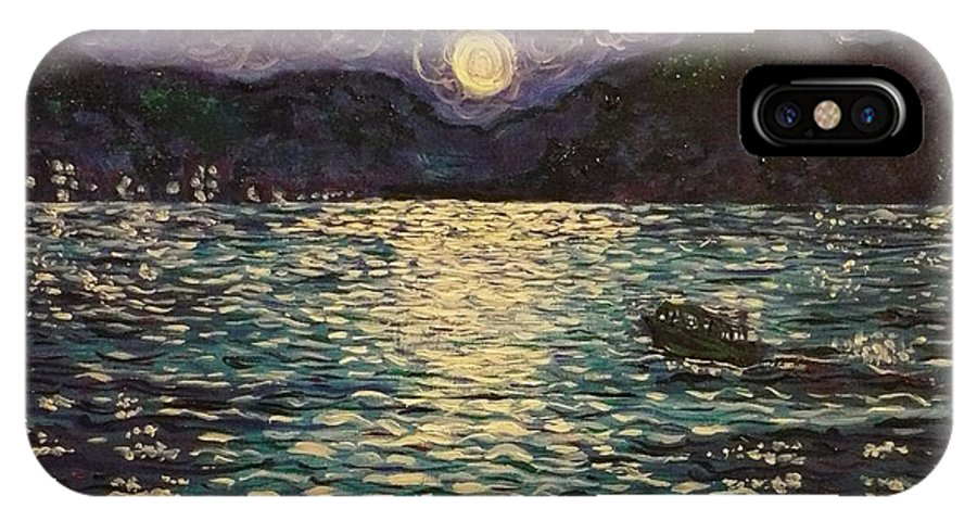 Landscape IPhone Case featuring the painting Silver Sea by Ericka Herazo