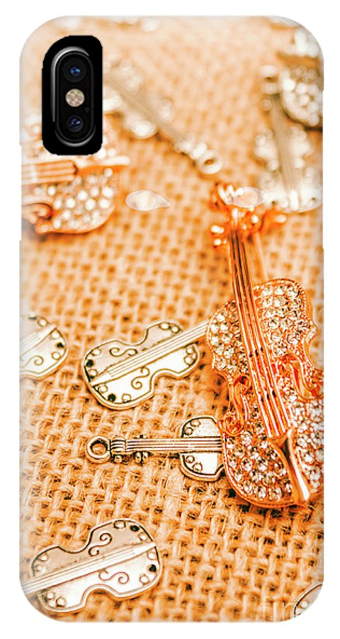 Musical IPhone X Case featuring the photograph Silver Violin Pendant With Diamonds by Jorgo Photography - Wall Art Gallery