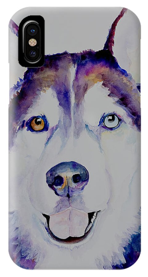 Siberian Husky IPhone X Case featuring the painting Simba by Pat Saunders-White