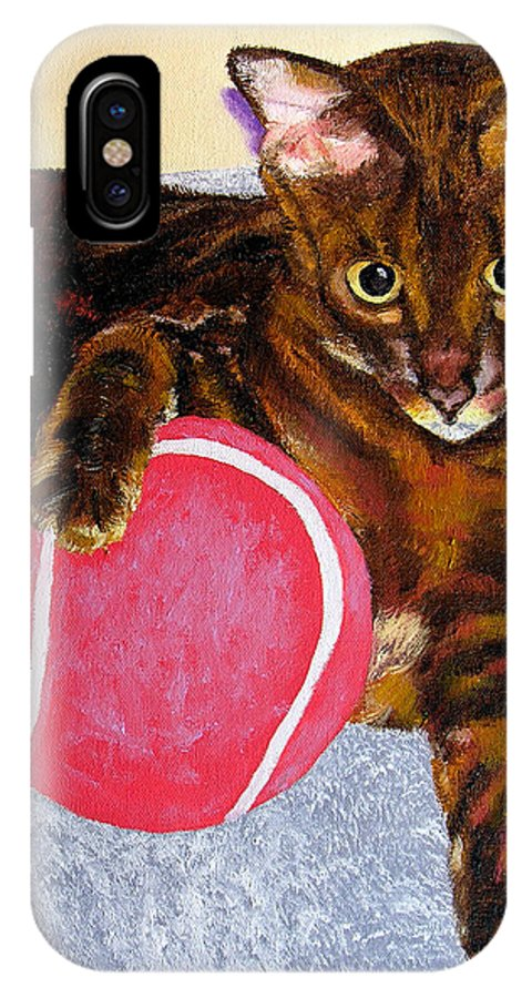 Cat IPhone X Case featuring the painting Simon by Stan Hamilton