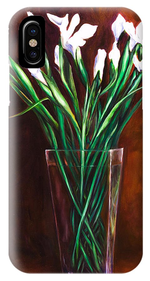 Iris IPhone X Case featuring the painting Simply Iris by Shannon Grissom
