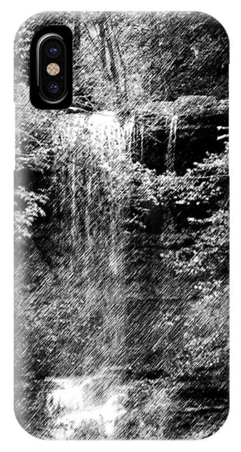 Digital Photograph IPhone X Case featuring the photograph Simulated Pencil Drawing Tinker Falls. by David Lane