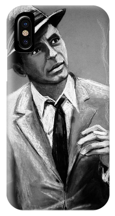 Frank Sinatra IPhone X Case featuring the drawing Sinatra by Laura Rispoli