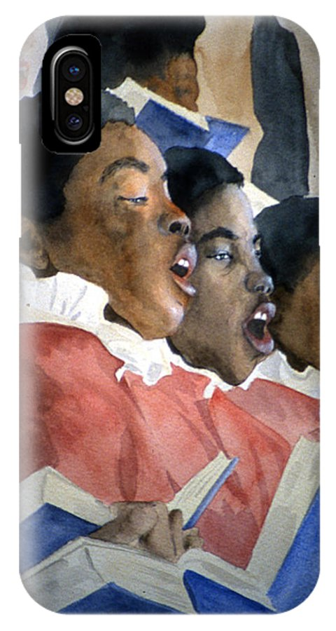 Choir IPhone X Case featuring the painting Sing Out Your Joy by Jean Blackmer