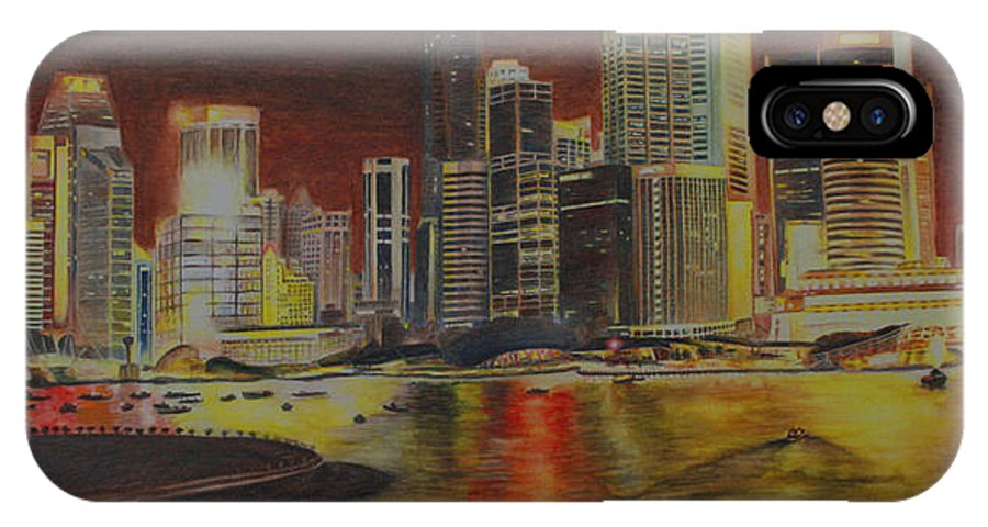 Cityscape IPhone X / XS Case featuring the painting Singapore Nights by Nik Helbig