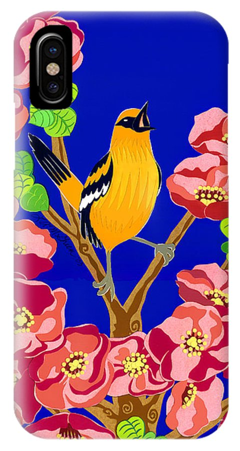 Nature IPhone X Case featuring the drawing Singing Oriole by Lucyna A M Green