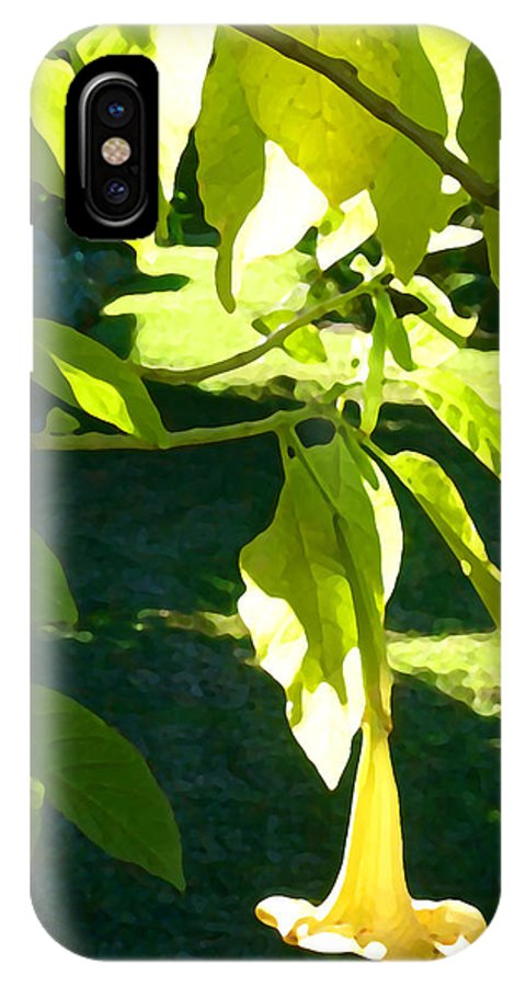 Spring IPhone Case featuring the painting Single Angel's Trumpet by Amy Vangsgard