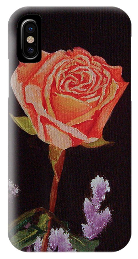 Rose IPhone X Case featuring the painting Single Rose by Quwatha Valentine