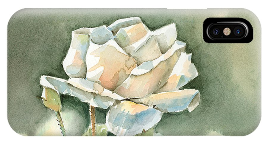 Rose IPhone X Case featuring the painting Single White Rose by Arline Wagner