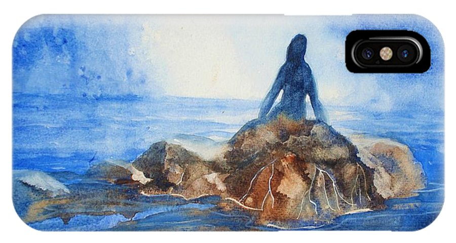 Mermaid IPhone X Case featuring the painting Siren Song by Marilyn Jacobson