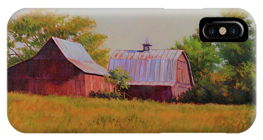 Barns IPhone X Case featuring the painting Sisters by Keith Burgess