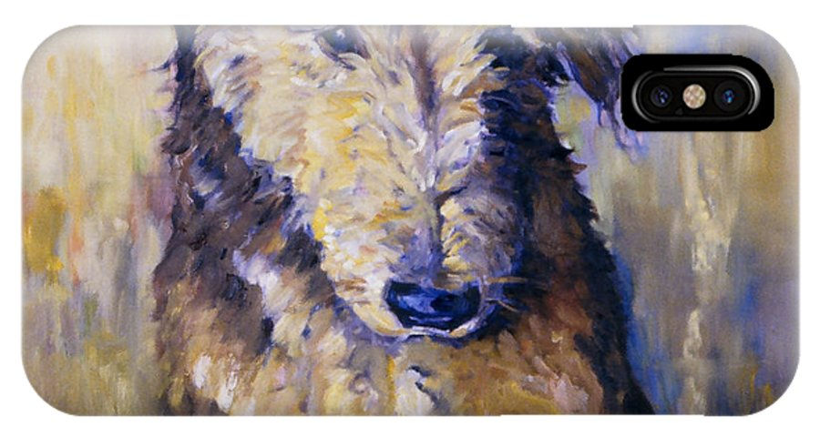 Airedale IPhone X Case featuring the painting Sit by Peggy Wilson