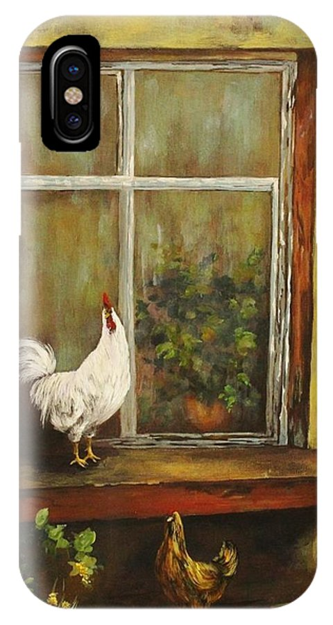 Rooster IPhone X Case featuring the painting Sittin Chickens by Nadia Bindr
