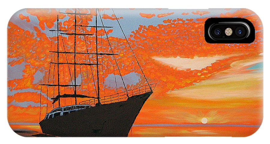 Seascape IPhone X Case featuring the painting Sittin' On The Bay by Marco Morales