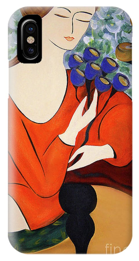 #female IPhone X Case featuring the painting Sitting Women by Jacquelinemari