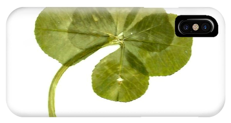 Six Leaf Clover IPhone X / XS Case featuring the mixed media Six Leaf Clover 1 by Julia Jacquez