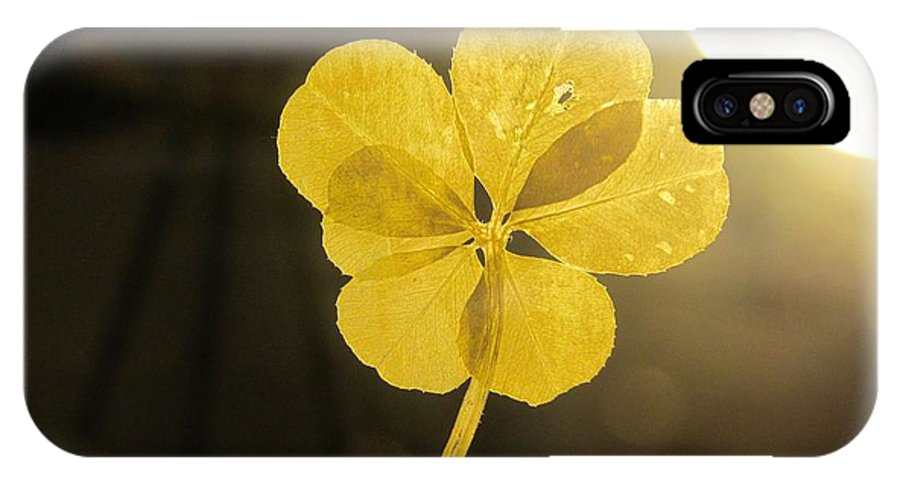 Six Leaf Clover IPhone X / XS Case featuring the mixed media Six Leaf Clover In Studio 2 by Julia Jacquez