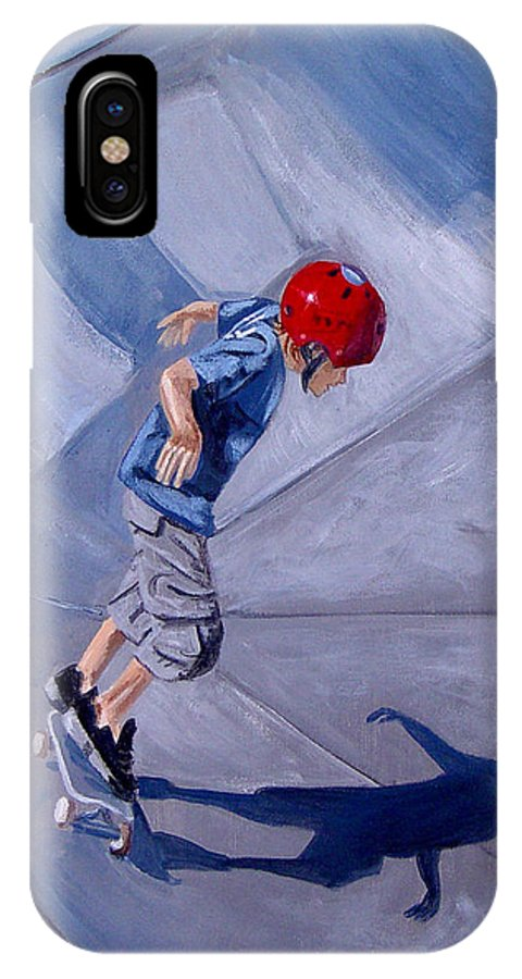 Boy IPhone Case featuring the painting Skateboarding by Quwatha Valentine