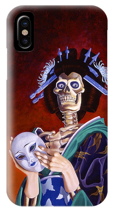 Skeleton IPhone X Case featuring the painting Skeletal Geisha With Mask by Melissa A Benson