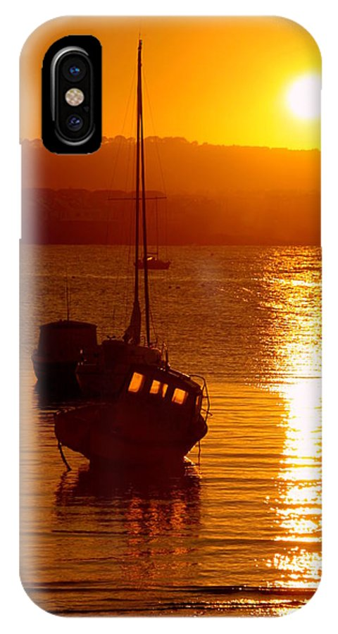Boat IPhone X Case featuring the photograph Skerries Harbour October Sunset by Martina Fagan
