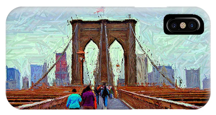 Brooklyn IPhone X Case featuring the digital art Sketch Of Brooklyn Bridge Pedestrians by Randy Aveille