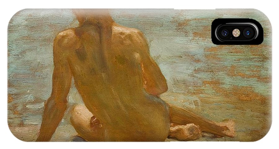 Sketch Of Nude Youth (study For Morning Splendour) IPhone X / XS Case featuring the painting Sketch Of Nude Youth Study For Morning Spelendour by Henry Scott Tuke