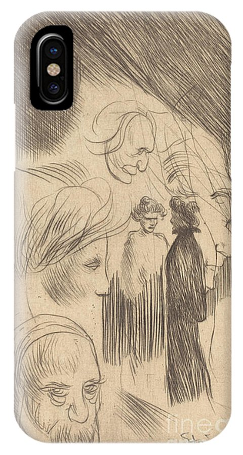 IPhone X Case featuring the drawing Sketch Plate by Th?ophile Alexandre Steinlen