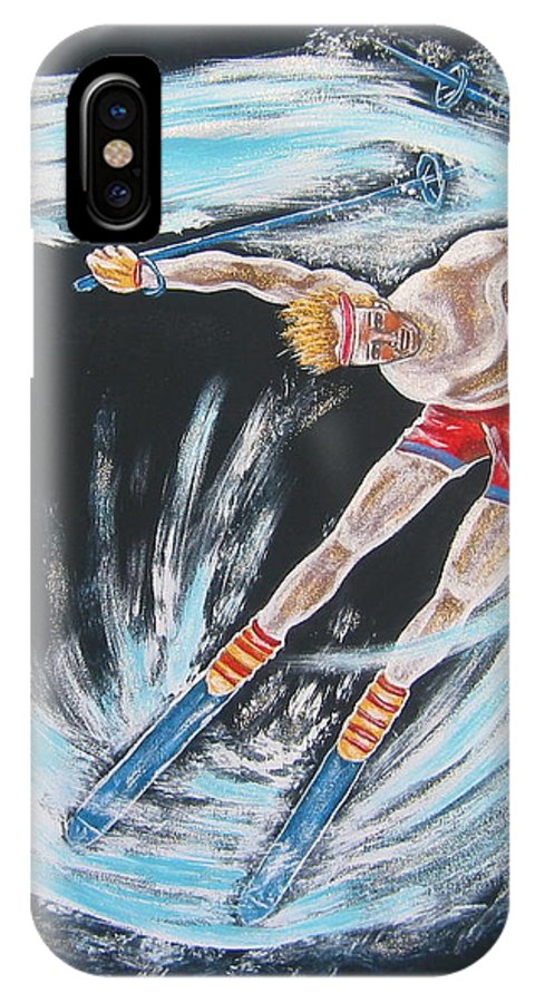 Abstract Sports IPhone X Case featuring the painting Ski Bum by V Boge