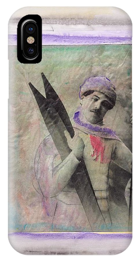 Ski IPhone X Case featuring the mixed media Skiboarder Around 1930 by Michael Puya