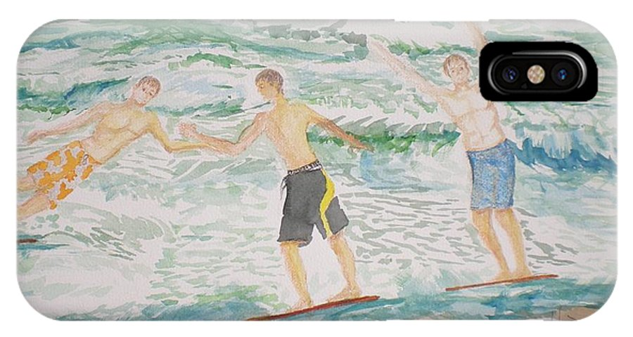 Seascape IPhone Case featuring the painting Skim Boarding Daytona Beach by Hal Newhouser